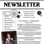 First page of First Quarter 2016 newsletter.