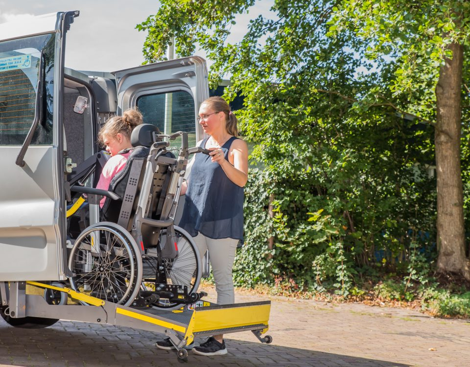 Getting in a wheelchair accessible van